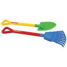 Darbo įrankių pora (kastuvas ir grėblys)