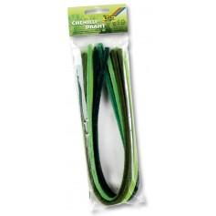 Šenilo vielos strypeliai, žalios spalvos atspalviai (10vnt.)