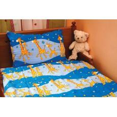 """Krepinės patalynės komplektas """"Žirafos"""", mėlyna sp. 40x60/90x130 cm"""