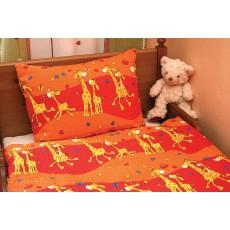 """Krepinės patalynės komplektas """"Žirafos"""", oranžinė sp. 40x60/90x130 cm"""