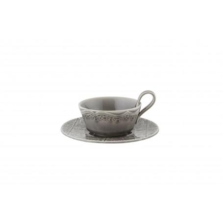 """Puodelis su lėkštute arbatai 200ml """"RUA NOVA Anthracite"""""""