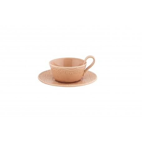 """Puodelis su lėkštute arbatai 200ml """"RUA NOVA Pink"""""""