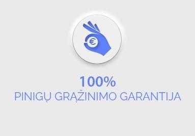 100 % pinigų grąžinimo garantija